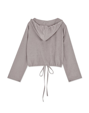 Velvet Drawstring Hem Hooded Blouse
