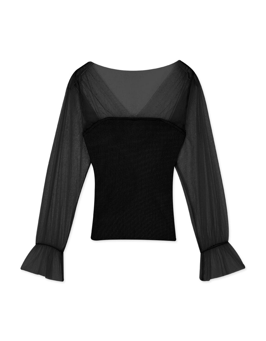 V-Neck Transparent Mesh Splice Ribbed Top