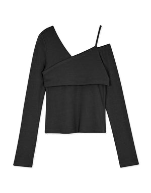 Cut Out Shoulder Asymmetrical Long Sleeve Knit Top