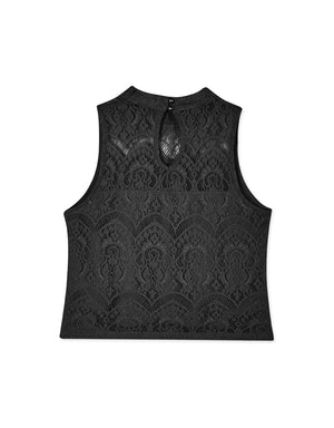 Round Neck Transparent Lace Sleeveless Tank Top