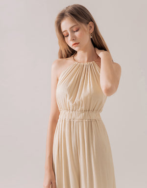 Romantic Metal Neck Ring Bare Back Jumpsuit