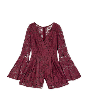 Transparent Trumpet Sleeve Carved Lace Playsuit