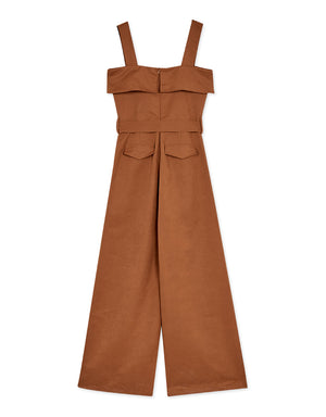 Thick Strap Double Breasted Belted Jumpsuit
