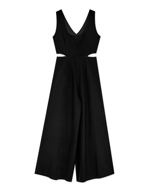 V-Neck Waist Cut Out Sleeveless Wide-Leg Jumpsuit