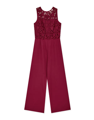 Carved Lace Sleeveless Tank Jumpsuit