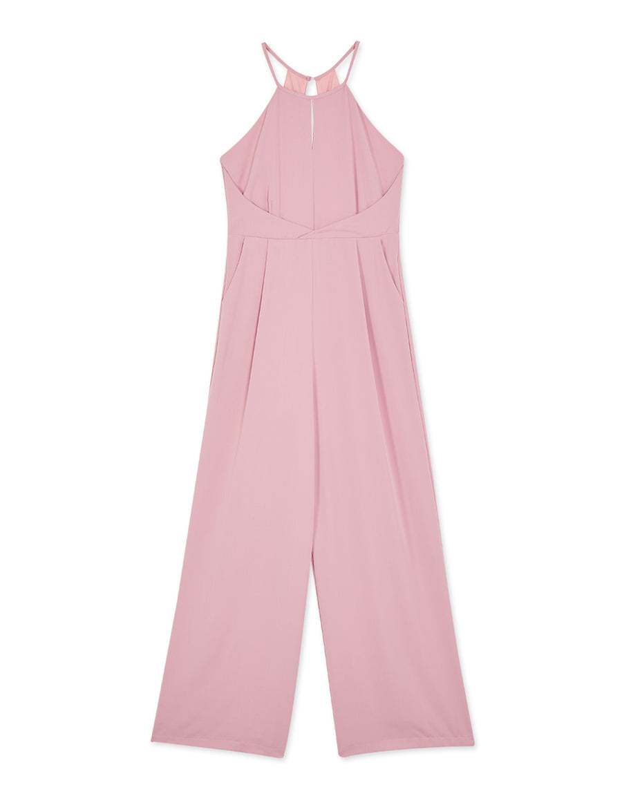 Hollow Back Halter Tank Chiffon Jumpsuit