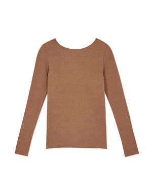 V-Neck Twist-Front Ribbed Long Sleeve Top