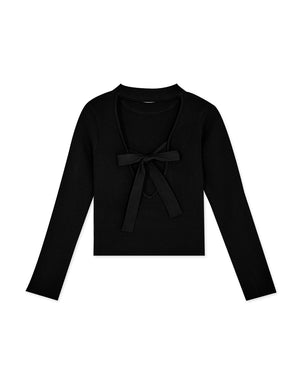 Deep V Hollow Back Ribbon Long Sleeve Knitted Top