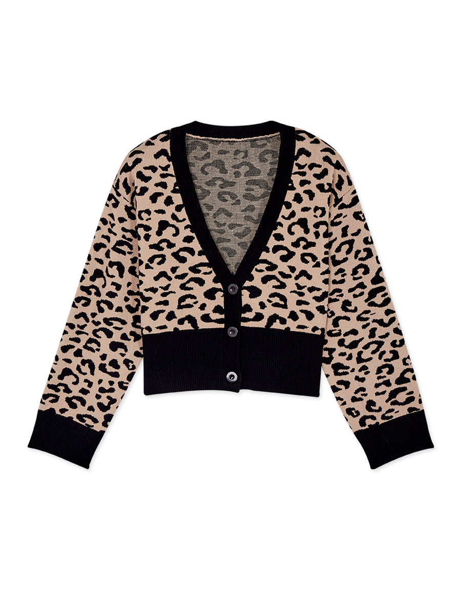 Leopard Print V-Neck Button Crop Knitted Top/ Cardigan