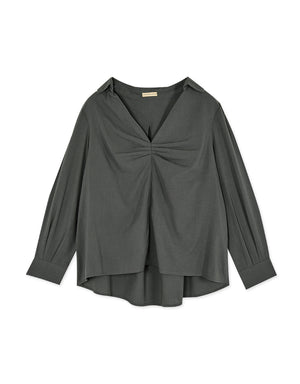 Shirred Front Turndown Collar Long Sleeve Blouse