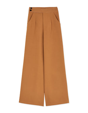 Minimalist Side Two-Button Wide-Leg Pants