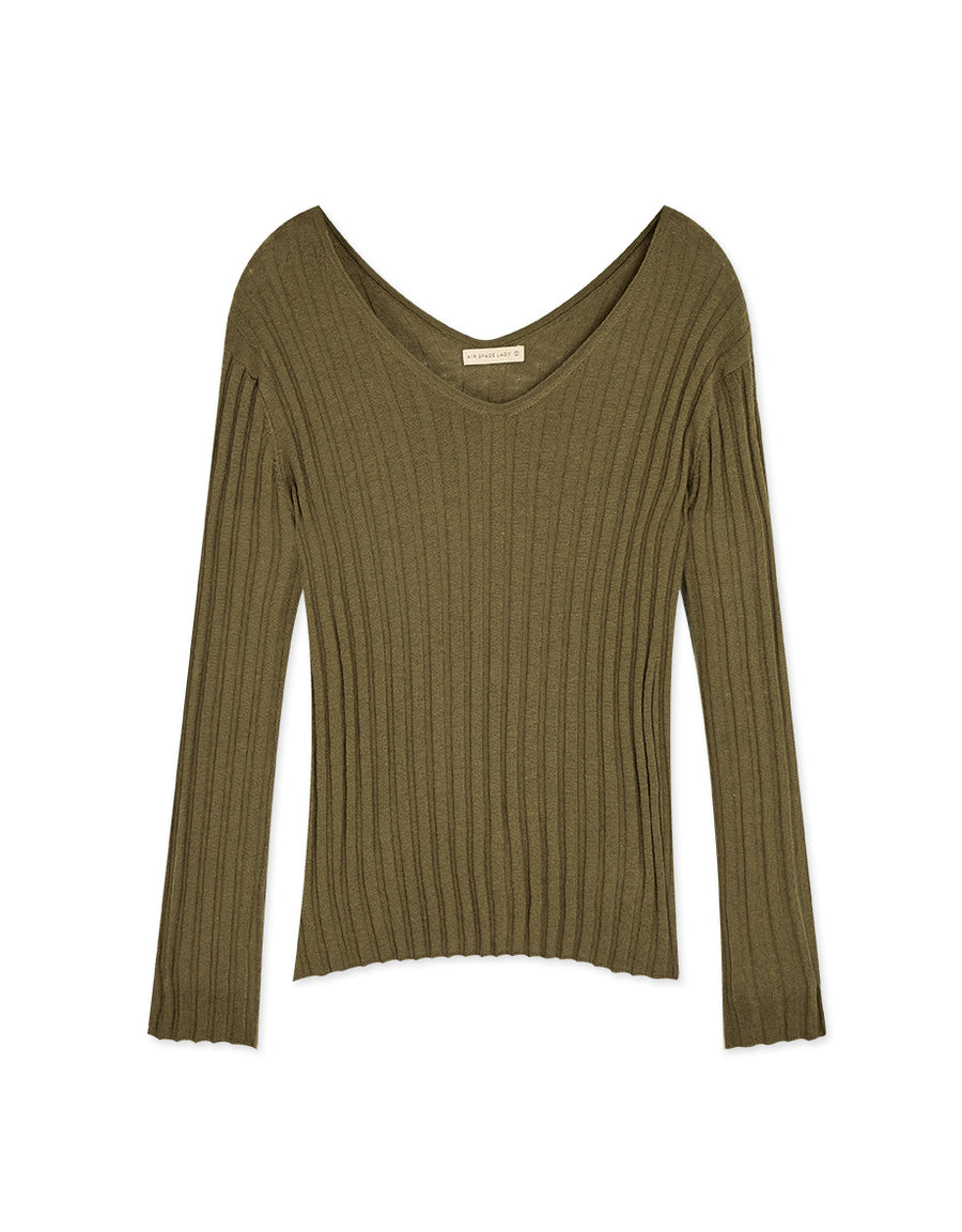 Double V-Neck Ribbed Knit Top
