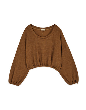 Loose Fit Round Neck Cinched Waist Long Sleeve Top