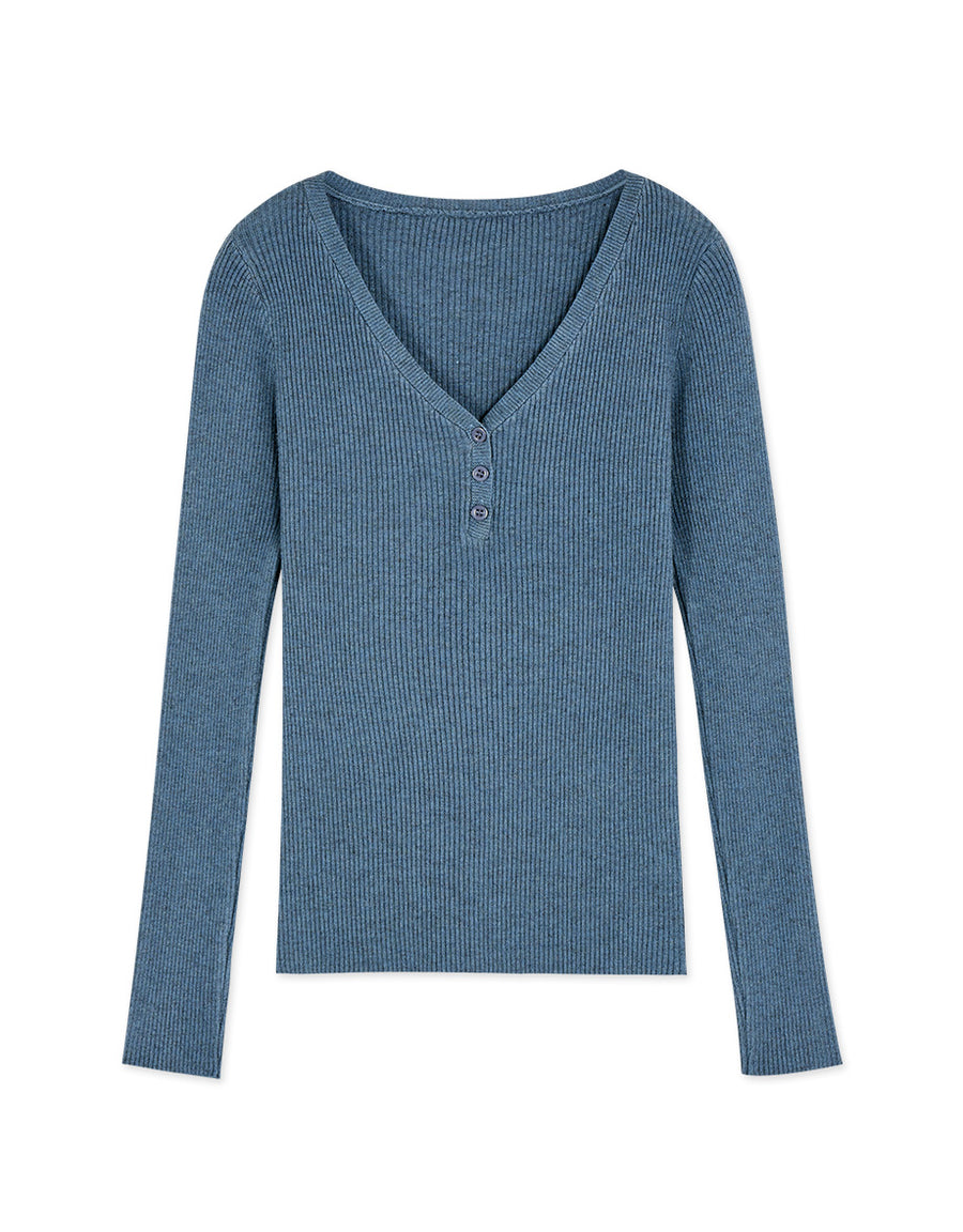 Mixed Colour Knitting V-Neck Buttoned Long Sleeve Top