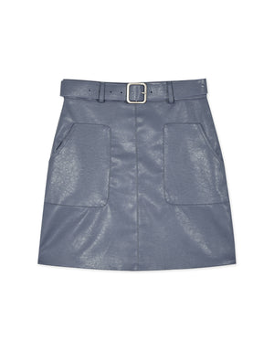 Two-Pocket A-Line Belted Leather Skirt