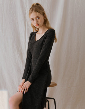 V-Neck Overlap Slit Long Sleeve Knitted Dress