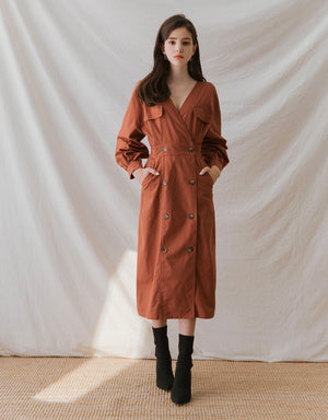 French Style V-Neck Double Breasted Long Sleeve Midi Dress
