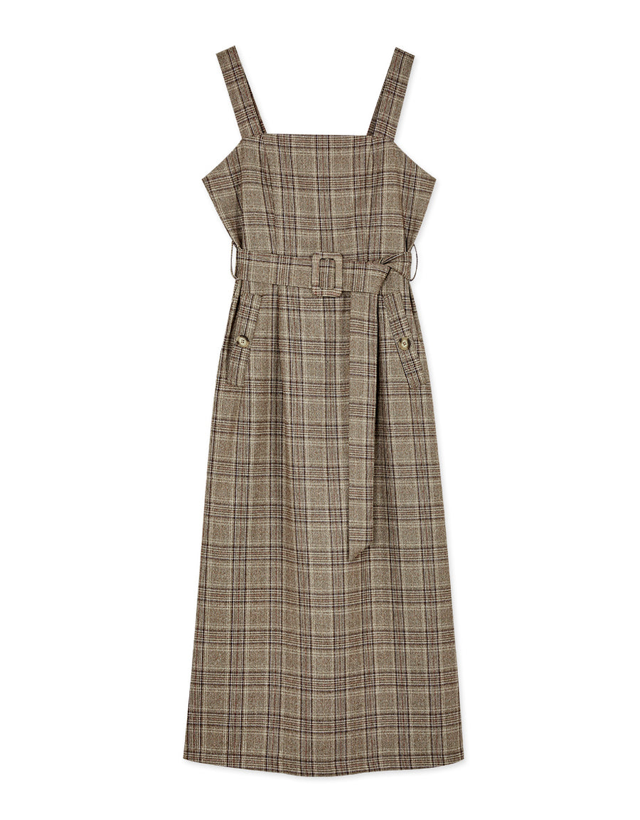 Vintage Plaid Thick Strap Slit Belted Midi Dress