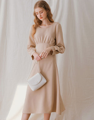 Elegant Back Button Long Sleeve Midi Dress