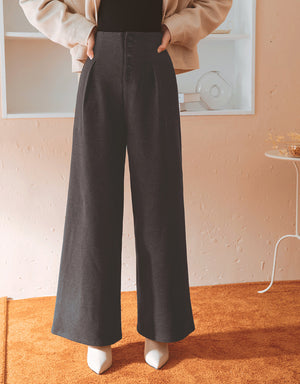 Sleek Suede Button Up Wide-Leg Pants