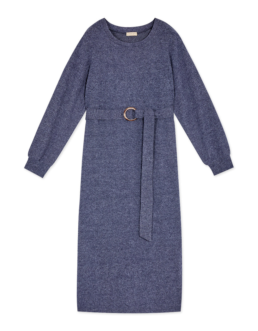 Elegant Suede Long Sleeve Belted Maxi Dress