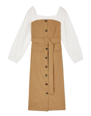 Vintage Square Neck Splice Button Up Belted Dress