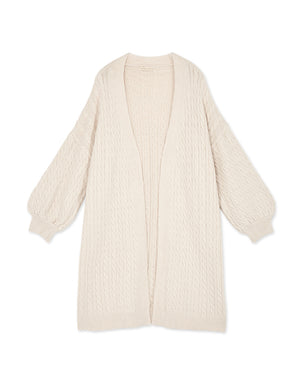 Peasant Sleeve Cable-Knit Cardigan