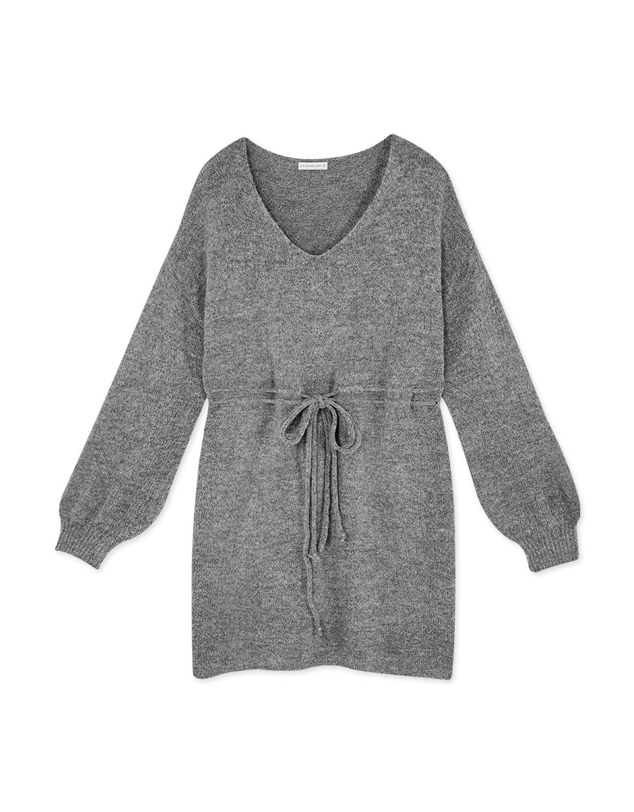 Textured Drawstring Ribbon Knitted Dress