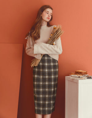 Hipster Style Plaid Slit Midi Skirt