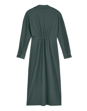 Crossover Turndown Collar Maxi Dress