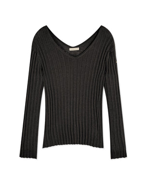 Double V-Neck Long Sleeve Ribbed Knit Top