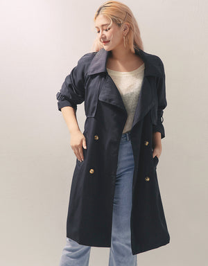 French Lapel Collar Trench Coat