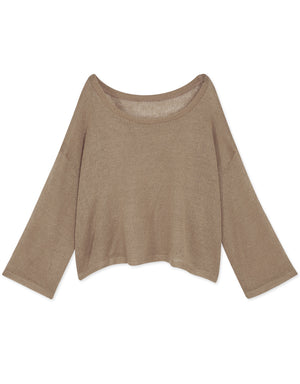 Round Neck Transparent  Knitted Long Sleeve Top