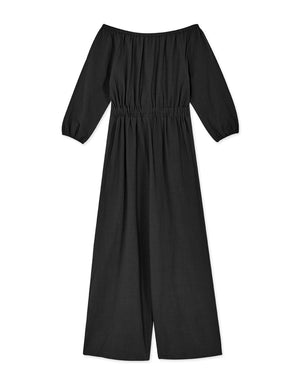 Textured Cotton Off Shoulder Long Sleeve Jumpsuit