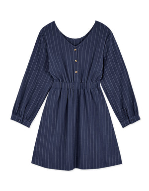 2Way Striped Button Cinched Waist Ribbon Dress