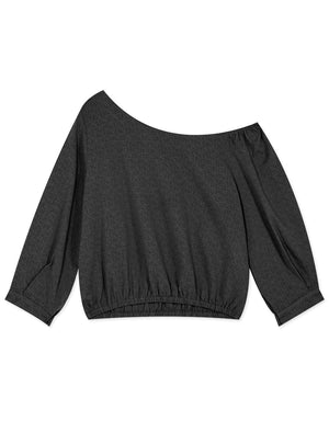 Cotton Sloping Shoulder Long Sleeve Top