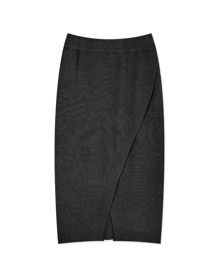 2Way Overlap Slit Knit Midi Skirt