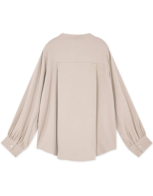 Hidden Button Long Sleeve Blouse