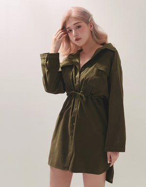 Tooling Style Cinched Waist Drawstring Blouse Dress