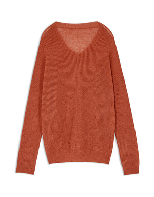 V-Neck Transparent Long Sleeve Knitted Top