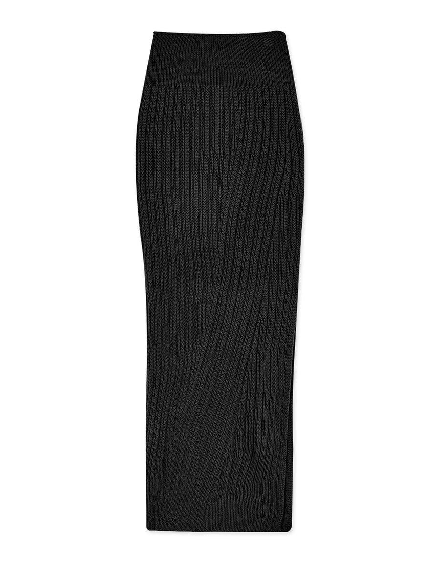 Side Slit Bodycon Knitted Midi Skirt