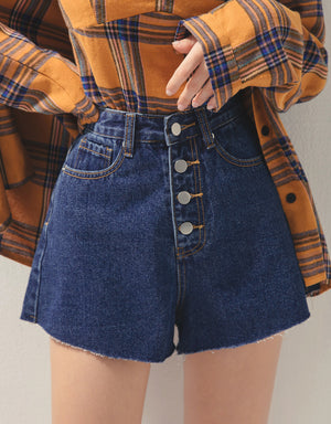 Metal Button Up Distressed Hem Denim Shorts