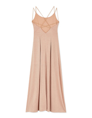 Glitter Cross-Back Strap Slit Maxi Dress