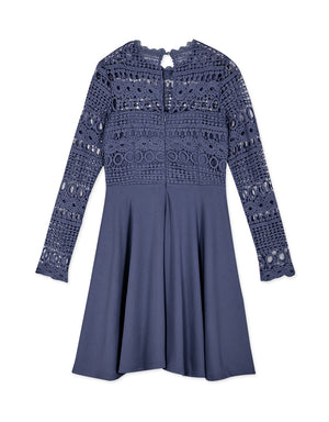 Crochet Lace Flare Long Sleeve Dress