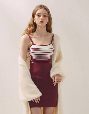 Thin Strap Striped Bodycon Knitted Dress