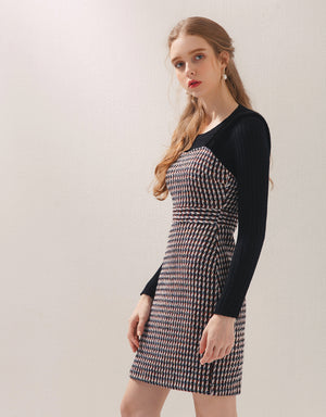 Wool Checkered Sweetheart Neckline Thick Strap Dress