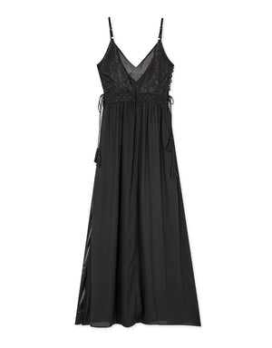 Thin Strap Lace Side Tassel Ribbon Maxi Dress (with Padding)