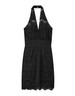 Lace Halter Strap Tank Dress (with Padding)