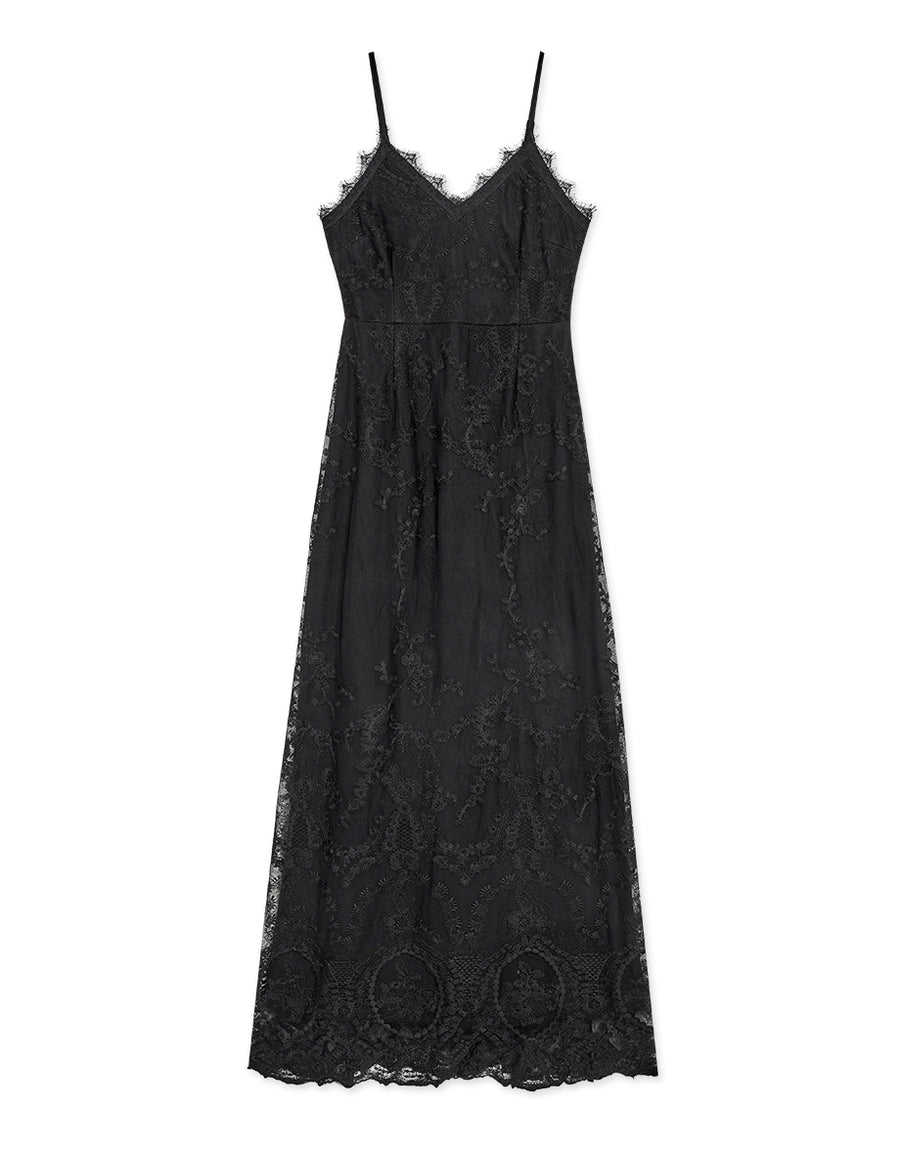 Textured Thin Strap Eyelash Lace Maxi Dress