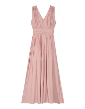 Deep V Bare Back Shirred Tank Maxi Dress
